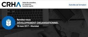 CRHA - Rendez-vous Développement organisationnel @ Montréal | Québec | Canada
